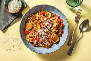Tomato Garlic Beef Spaghetti image