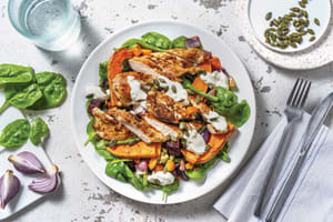 Spiced Chicken & Roast Veggie Salad with Pepitas & Garlic Yoghurt image