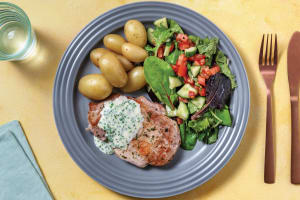 Spiced Pork & Cheesy Chive Sauce with Potatoes image