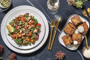 Spiced Prawns & Veggie Pearl Couscous with Nutty Garlic Fetta & Balsamic Glaze image