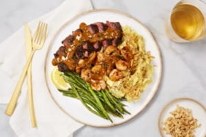 Steak & Shrimp in a Creamy Thyme Sauce image