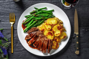 Steak with Dauphinoise Potatoes and Red Wine Jus image
