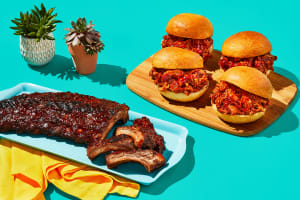 Sticky Baby Back Ribs & BBQ Pulled Chicken Sandos image