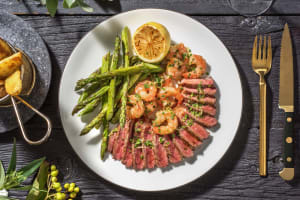 Surf and Turf: Sirloin Steak and King Prawns image