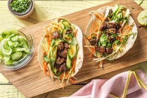 Wraps de boeuf mariné à la coréenne & légumes frais image