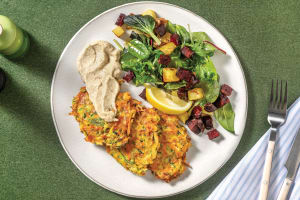 Golden Zucchini, Carrot & Cheddar Fritters image