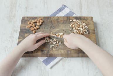 Chop the raw almonds
