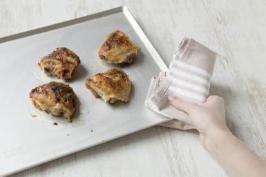 Cook the chicken until crispy