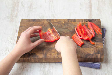 Thinly slice the bell pepper