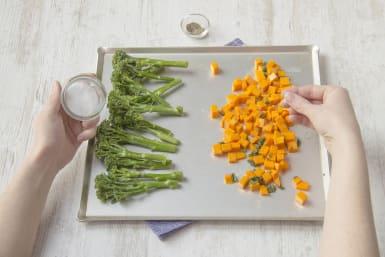 Season the veggies