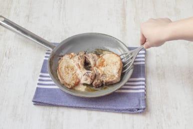 Searing the pork chops