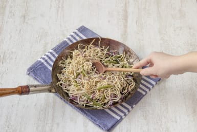 Toss the noodles with sauce