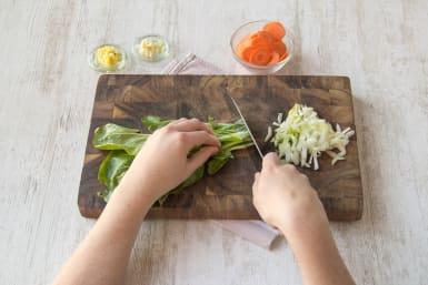 Snijd de groenten klein