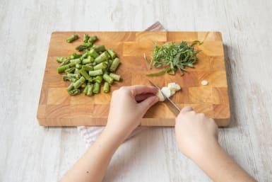 Trim and slice the asparagus
