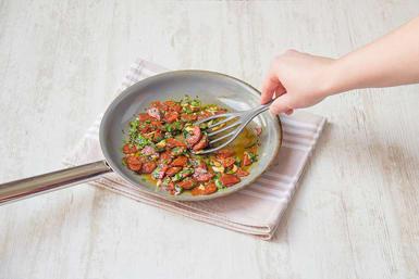 Cook chorizo, panko, parsley