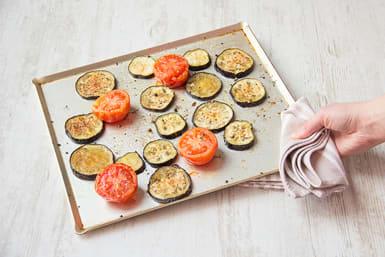 Roast eggplant, tomatoes