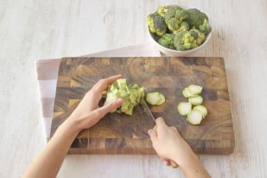 Cut the broccoli into florets