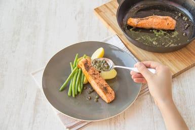 Serve the salmon