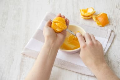 Peel and cut the orange
