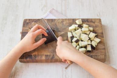 Chop aubergine into 2cm cubes