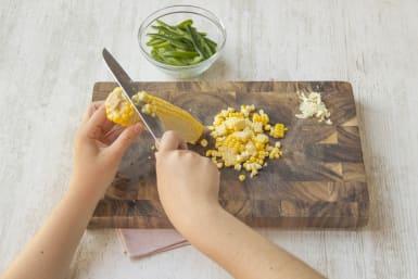 cut the corn kernels off the cob