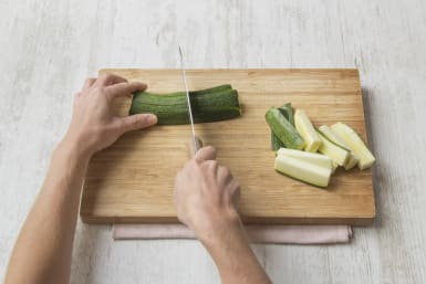Chop the courgettes