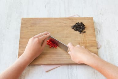Chop you olives and chilli