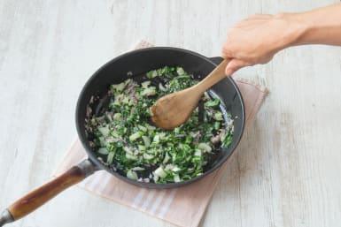 Cook the collard greens