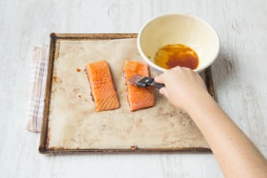 Add the soy/honey to the salmon
