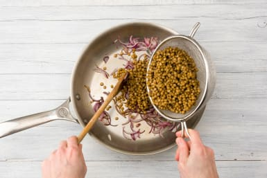 Add the lentils to the pan