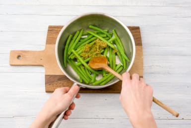 Stir your pesto into the beans