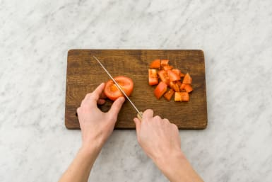 Chop the tomatoes