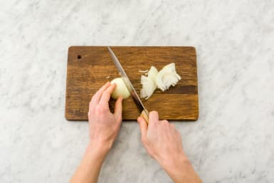 Thinly slice your onions