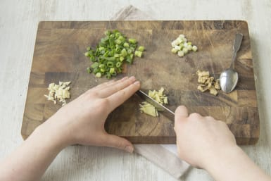 Finely chop the garlic