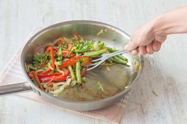 Blister the veggies