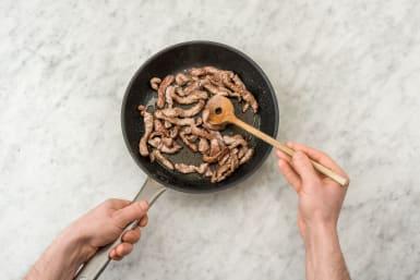 Stir-fry the steak