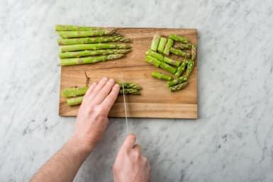 chop the asparagus spears