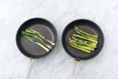 Char the asparagus
