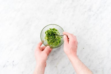 Make the scallion chimichurri