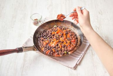 Cook the adobo beans
