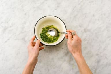 Make the tarragon-chive herb sauce