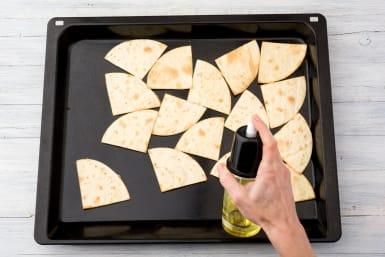 Prepare the tortilla triangles