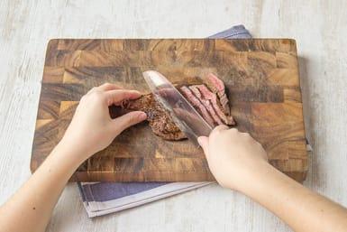 Slice the steak