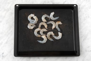 Broil the shrimp and veggies