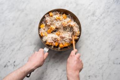 Add the garlic & arborio rice