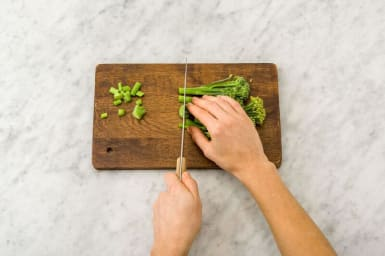 Trim the ends off the broccolini