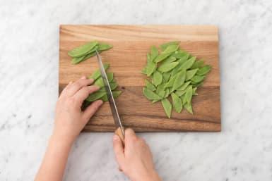Slice the snow peas
