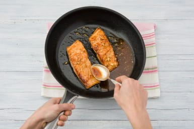 Cook the salmon on each side