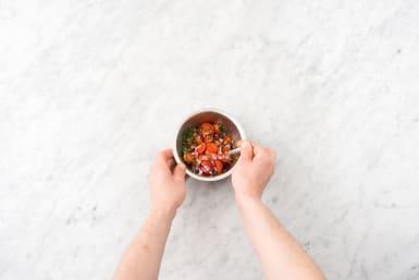 Make the pico de gallo and citronette dressing
