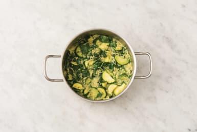 Add greens to the risoni